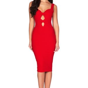 SCARLET RED BOWS DRESS