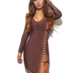 HIGH SLIT LACE UP MINI