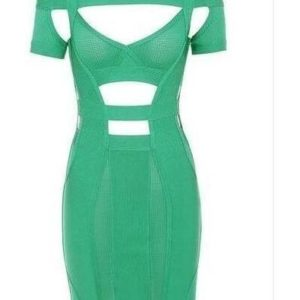 GREEN OPEN SHOULDER DRESS